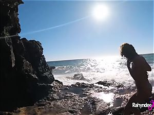 Rahyndee James public beach smashing pov