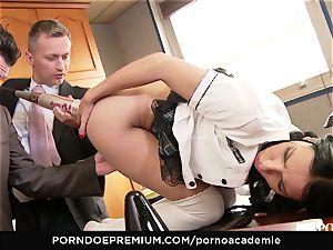 pornography ACADEMIE- ash-blonde student with ponytails ravaged