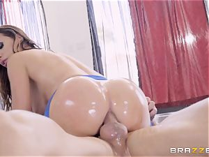 crazy oiled up Nikki Benz thrashed in her butt