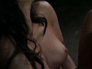 Asa Akira milks as she watches a kinky couple