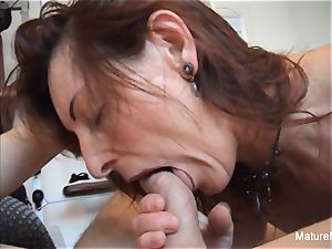 Pierced granny gets an rectal exercise in the gym