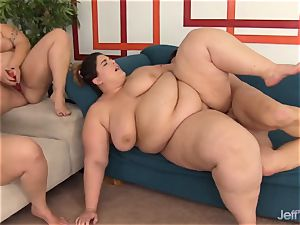 four enormous nymphs elation Each Other and One fortunate guy