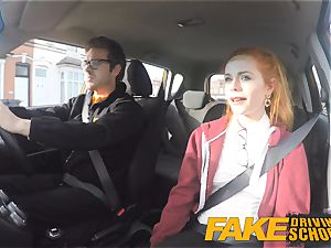 fake Driving college uber-cute red-haired Ella Hughes plows