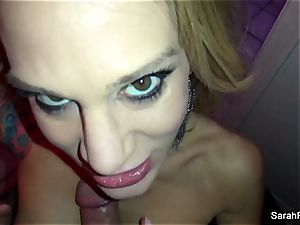 pornographic star Sarah Jessie gives a fellatio in the shower