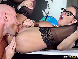 yam-sized breasted Peta Jensen torn up via the boardroom table