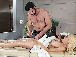 Married light-haired sweetheart getting crazy by a muscled masseuse