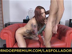 LAS FOLLADORAS - Silvia Ruby takes random dude for orgy