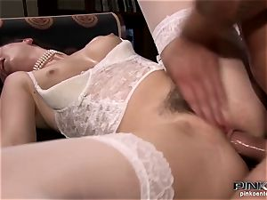black-haired stunner in undergarments gets her vag romped firm