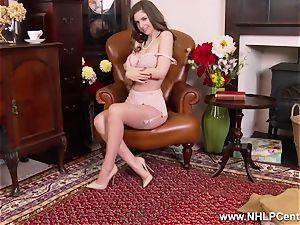 Stella plays with ample fun bags labia in retro nylon underwear