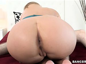 Phoenix Marie rides her moist poon on this rigid wood