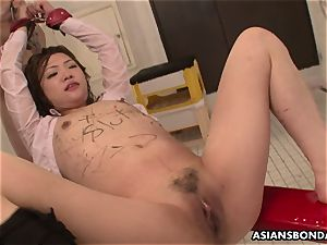 asian stunner gets soaked in pee while being smashed