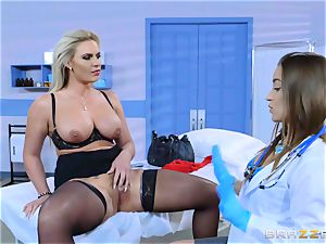 wild patient Phoenix Marie lezzy smash with Dani Daniels