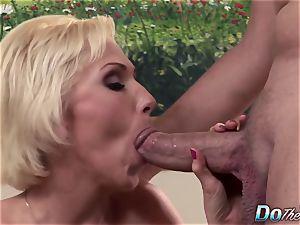 light-haired cougar wifey phat spunk-pump anal creampie