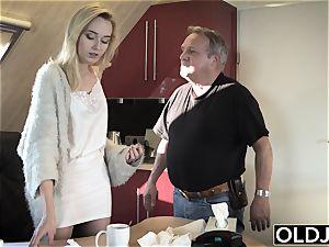 youthful aged porn Martha gives grandfather a filthy fellatio