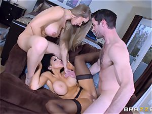 Audrey Bitoni and Nicole Aniston spunk-pump screwed by Charle Dera