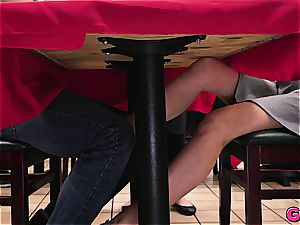 Melissa Moore gets a manmeat kebab under the table at the local food joint
