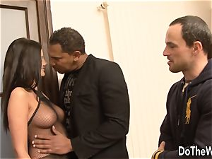 brown-haired bi-racial cuckold anal invasion