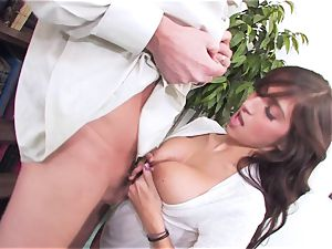 bitchy brown-haired April ONeil getting her cooch broken by a monster trouser snake