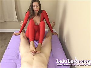 dressed lady gives you hand-job and footjob