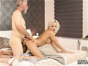 Pretty in pink platinum-blonde and mature wife cheats with youthful damsel hardcore Surprise your
