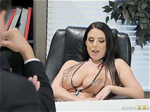 kinky black-haired Angela white screwed over the table