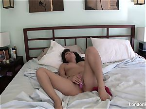 big-titted London's home flick onanism