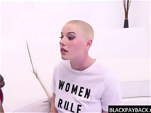 Pretty feminist damsel gasps on big black cock