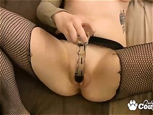sandy-haired nubile gets fingering and dildoing