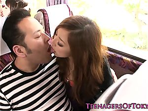 sizzling japanese teenager on a bus getting her cunt pounded