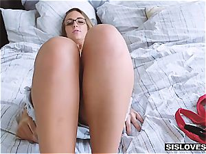 buxomy stepsister luvs brother's jism in her facehole