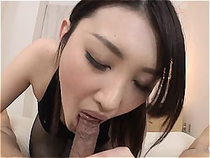 small japanese sweetie gets her minge plumbed thru her pantyhose