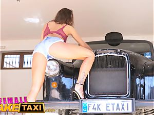 damsel fake taxi mind-blowing taxi driver wants double facial cumshot