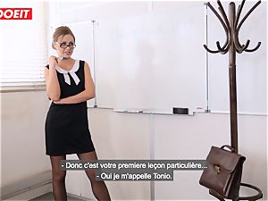 LETSDOEIT - nasty schoolteacher Gets double-penetrated By college girl and manager