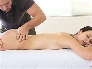 Alaina Kristar pulverized by her hunky massagist