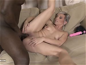 ebony and white big black cock cum guzzling whore enjoys dark-hued trouser snake