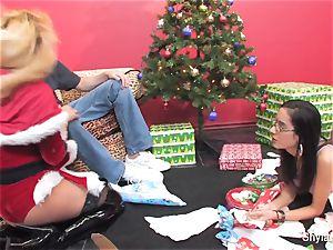 blond cutie Shyla gets a internal cumshot for Christmas