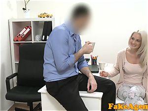 fake Agent super hot blondie model luvs meatpipe over the desk