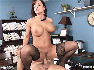 fat melon secretary Lisa Ann takes chief's trunk in the office