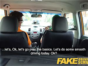 faux Driving school big-chested learner is humid and horny