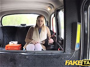 fake cab Nurse in beautiful underwear has car hump