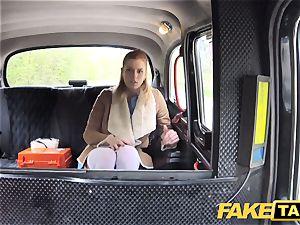 fake cab Nurse in beautiful underwear has car hump