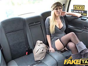 fake cab buxomy blonde cougar Amber Jayne deepthroats and smashes