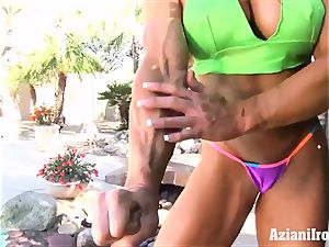 sumptuous fitness models by the pool playing for you
