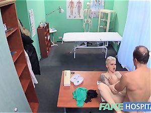 fake health center Flirty tatted minx demands quick hump