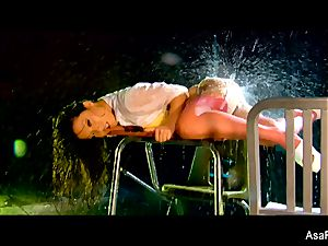 asian babe Asa Akira gets her vulva nailed rigid