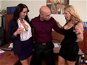 crazy damsels screw their boss on a intimate party