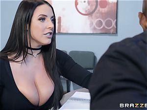 bi-racial vag poke with gigantic natural bra-stuffers Angela white