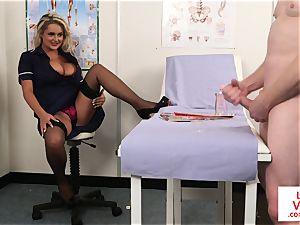 CFNM spycam nurse instructing jerkoff