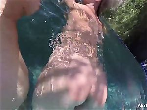 big-chested blondes Alix and Cherie go thin dipping