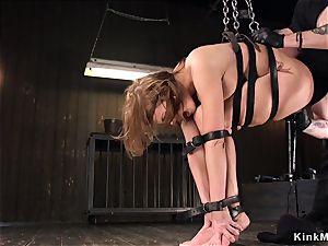 buxom greased cutie vag vibed in restrain bondage